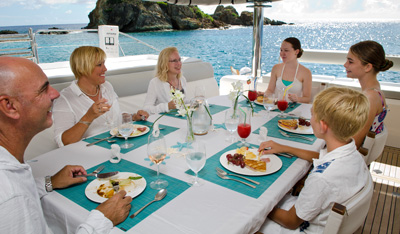 Dine aboard your private charter yacht